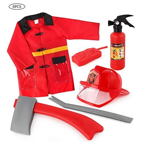 Kinderkostuum brandweerman brandweer inzetjack uitrusting brandweerman kostuum en brandweerman accessoires voor kinderen (3-7 jaar oud)