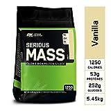 Optimum Nutrition Serious Mass, Mass Gainer avec Whey protéine, Proteines Musculation Prise de Masse avec Vitamines, Creatine et Glutamine, Vanille, 16 Portions, 5,45 kg