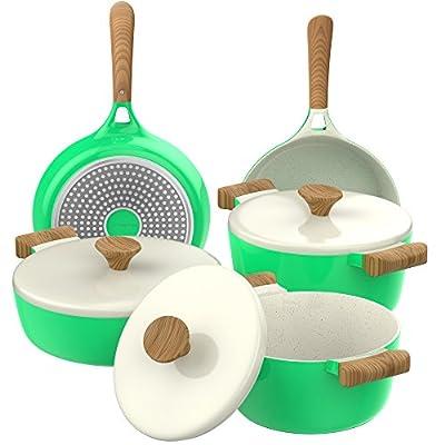 Vremi Ceramic Cookware Set - Nonstick Induction Stovetop Compatible Dishwasher Safe Die Casting Aluminum Pots and Frying Pans with Lids - 3 Vibrant Color Options