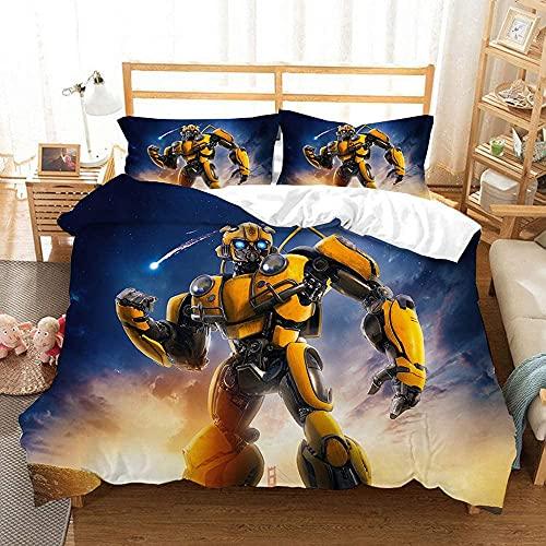 Aatensou Ropa de cama con estampado de Transformers Anime de microfibra, funda nórdica con cremallera + 2 fundas de almohada, antiarrugas, 3 piezas (A1, 230 x 260 cm + 80 x 80 cm x 2)