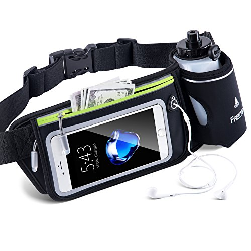 FREETOO Hydration Running Belt with Water Bottle (1X BPA Free 10oz) Adjustable Waist Pack Fits for 6...