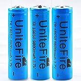 18650 Batería Recargable 3.7 9800 MAH Azul Litio BateríA Recargable De Iones De Litio 3 7v Pilas Recargables 18650 Alto Rendimiento BotóN De La BateríA Superior para Linterna(3 pcs)