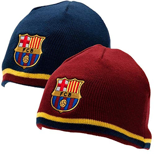 FC Barcelona Reversible Knitted Hat - Barca Beanie - Official Barcelona Product - One Size Fits Most - 100% Acrylic - Reversible Hat, One Side Blue, One Side Maroon - Both Sides Have FCB Team Crest