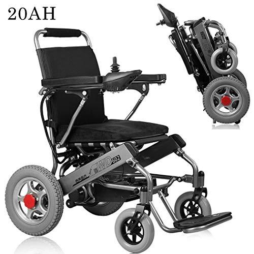 Check Out This KOQIO Folding Portable Electric Wheelchair, 12Ah-20Ah Remote Control Foldable Dual Mo...