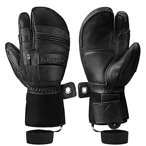 KUTOOK Winter Three Fingers Ski Mittens Genuine Leather Thermal 3M Thinsulate Waterproof Snowboarding Gloves with Pocket Black Large
