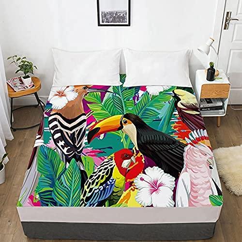 LLKK Home 1 sábana de cama 3D con funda elástica ajustable para colchón 135/150/180/200/160x200 Country Toucan Ropa de cama doble Queen King Hotel calidad (color: 12, tamaño: 160x200 profundo 30cm)
