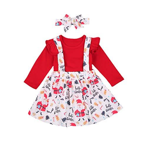 Carolilly - Camiseta de manga larga con tirantes y falda y cinta para el pelo, diseo de arco rojo 6-12 Meses