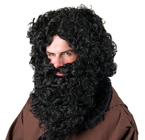 Barbe du Père Noël et perruque, noir