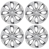 BDK Silver Hubcaps Wheel Covers (15 inch) – Four (4) Pieces Corrosion-Free & Sturdy – Full Heat & Impact Resistant Grade – OEM Replacement, Model: KT-1043-15_drx