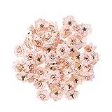 ULTNICE 50 Stück Blumenköpfe Künstliche Blume Köpfe Stapelia Köpfe Rose Kopf für Hausgarten Hochzeit Geburtstag Party Dekoration, Leichter Kaffee