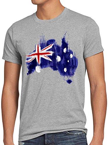 CottonCloud Flagge Australien Herren T-Shirt Fußball Sport Australia WM EM Fahne, Größe:L, Farbe:Grau meliert