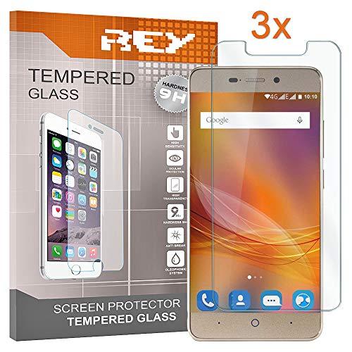 REY 3X Protector de Pantalla para ZTE Blade A452, Cristal Vidrio Templado Premium