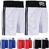Farabi Pro Boxing Shorts for Boxing Training Punching, Sparring Fitness Gym Clothing Fairtex jiu Jitsu MMA Muay Thai Kickboxing Equipment Trunks (White, Large)