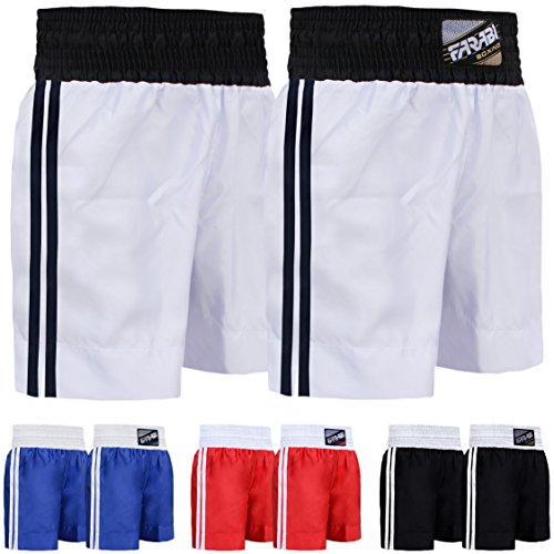 FARABI Pro Boxing Shorts for Boxing Training Punching, Sparring Fitness Gym Kickboxing Equipment Trunks(White,Small)