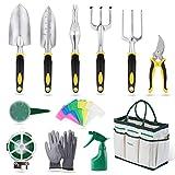 YISSVIC Outils de Jardinage 12 Pièces Outils de Jardin avec Sac de Rangement,...