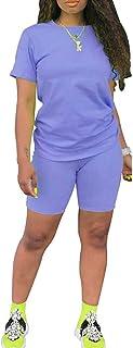 ECHOINE Womens Lightweight 2 Piece Sports Outfit Tracksuit Shirt Shorts Jogger Sportswear Set Activewear
