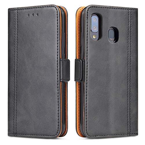Bozon Galaxy A40 Hülle, Leder Tasche Handyhülle für Samsung Galaxy A40 Schutzhülle Flip Wallet mit Ständer & Kartenfächer/Magnetverschluss (Schwarz)