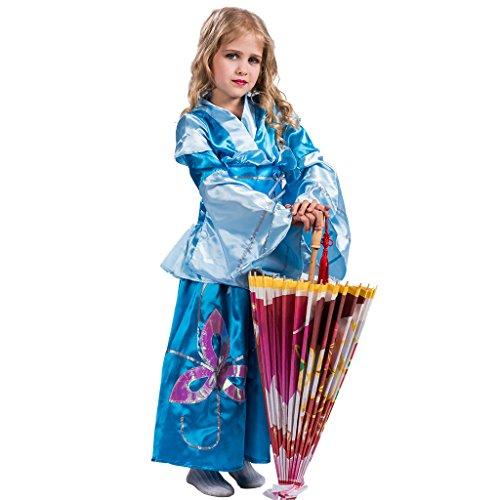 EraSpooky Vestido de Princesa Tradicional Japonesa de Kimono Azul para Niña(Azul, Medium)