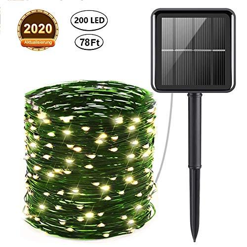 Solar Lichterketten, 240 LED Solar Gartenleuchten 8 Modi Solarbetriebene Fee Außenleuchten Außen für Weihnachten, Baum, Garten, Haus, Hochzeit, Weg, Party (Warm Light, Rubber Wire 24M)