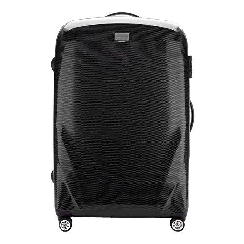 Stabiler Reisekoffer Großer Koffer Trolley von Wittchen Material polycarbonat 4 Lenkrollen Zahlenschloss 4.8KG Kapazität 85 L Farbe Schwarz