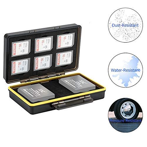 JJC SD Karten Box für 6 SD SDHC SDXC Speicherkarten mit 2 Slots für Fuji Fujifilm NP-W126 NP-W126S auf X-T3 X-T30 X-T100 X-A5 X100F X-A10 X-Pro2 X-Pro1 X-T2 X-T1 X-T20 X-T10 X-E3 Akku Tasche