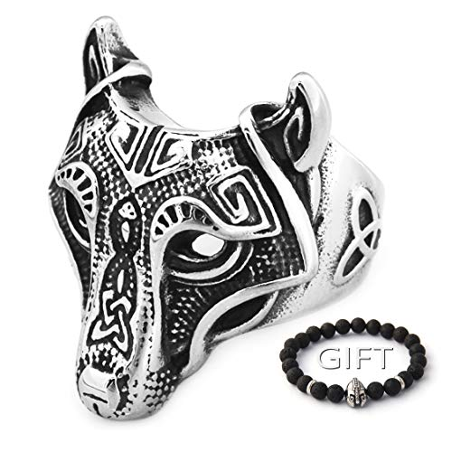 ENXICO Fenrir Wolf Head Ring 316L Stainless Steel Norse Scandinavian Viking Jewelry (13)