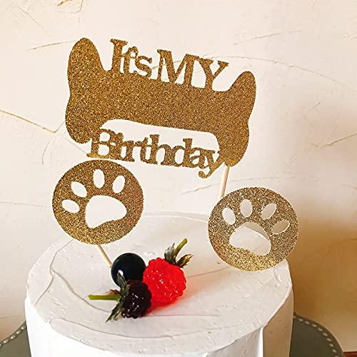 ケーキトッパー 犬 いぬ ドック ペット お祝い用 筆記体 スター 星 ゴールド スクラップブッキング ケーキ デコレーション クラフト 紙製 ペーパー