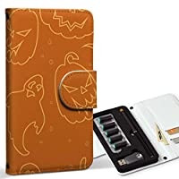 スマコレ ploom TECH プルームテック 専用 レザーケース 手帳型 タバコ ケース カバー 合皮 ケース カバー 収納 プルームケース デザイン 革 ユニーク ハロウィン かぼちゃ 002369