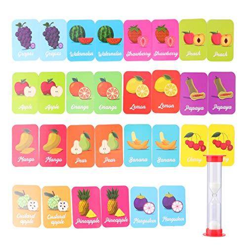 TOYANDONA Tarjetas de Emparejamiento de Entrenamiento para Bebés Tarjetas de Reconocimiento de Frutas Juego de Cartas de Coincidencia de Memoria Palabras Educativas Aprendizaje Juguetes