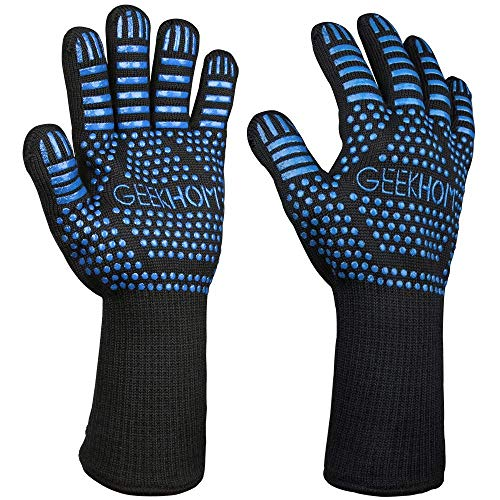 BBQ Gloves, 800 ? / 1432 ? Extreme Heat Resistant Oven Gloves with Fingers EN407 Certified Oven Mitts for Barbecue Grilling Kitchen Cooking Baking Welding Weber Fireplace Accessories