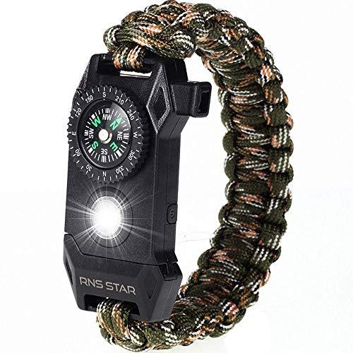 RNS STAR Paracord Survival Bracelet 6-in-1 - Hiking Gear Traveling Camping Gear Kit - 70% Bigger Compass LED SOS Emergency Function Flashlight,Fire Scrapper,Flint Fire Starter,Survival Knife (Camo_3)