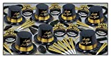 Beistle Legacy Assortment for 50 People New Year's Eve Party Supplies Photo Booth Props – Hats, Tiaras, Noisemakers, Necklaces, One Size, Black/Gold