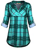 Miusey Boutique Clothing for Women,Ladies Gingham Plaid Flowy Notch V Neck Grid Print Half Sleeve Buffalo Pintuck Tunic Blouse Leisure Form Fitting Modest Top Green XL