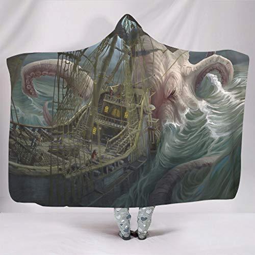 Manta con capucha de fantasía, gran agarre, estampado de barco, cálida para invierno, retro, con capucha, color blanco, 150 x 200 cm