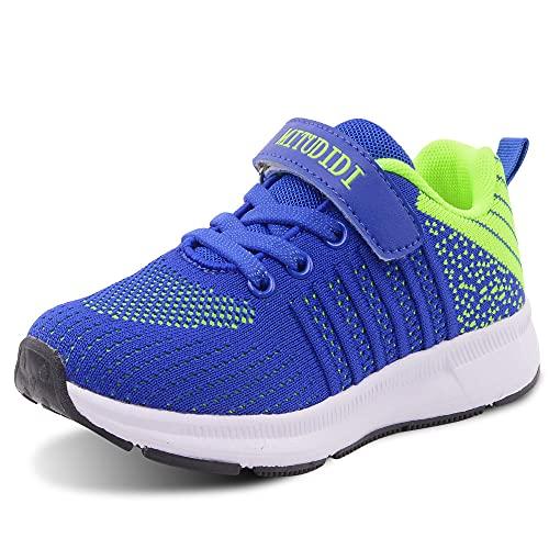 Zapatillas Deportivas Niños Velcro Zapatillas de Deporte Niña Zapatillas de Correr Niño Zapatillas de Gimnasia Tenis Trotar Runners Trainers Running Atletismo Zapatillas Zapatos Azul Verde 27 EU