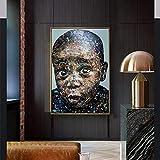 KWzEQ Imprimir en Lienzo Imágenes de niño Africano Arte de la Pared decoración para Sala de Estar carteles60x75cmPintura sin Marco