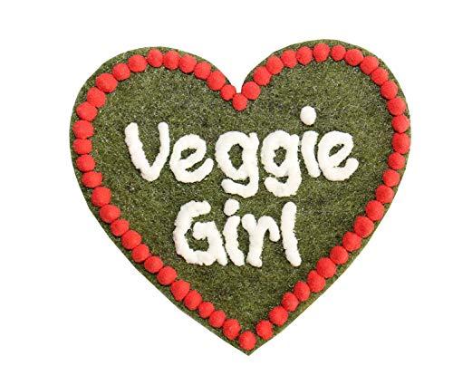 Anstecker Filzherz Veggie Girl für Junggesellinnenabschied Junggesellenabschied Oktoberfest Dirndl Accessoires mit Namen - Namensschild Herz personalisiert Button Brosche Ansteckbutton