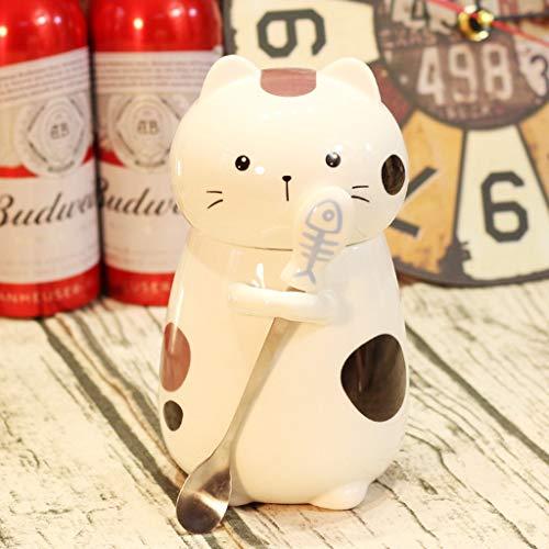 QMJYP Taza Linda del Gato Taza de café de cerámica con Cuchara de Acero Inoxidable para Gatitos, Adecuado para Tazas de Agua/café/Leche, Regalos para niñas.