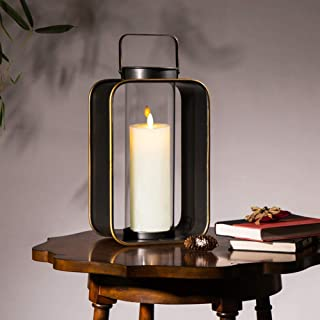 """Glitzhome Metal Hanging Candle Lantern for Indoor Outdoor Use Home Decor Accents, 19.29"""" H, Black"""
