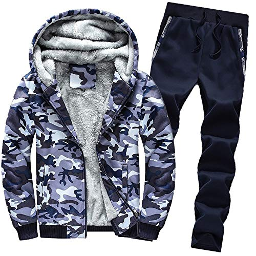 Aiserkly Herren Freizeitanzug Sportanzug Trainingsanzug Hoodie+Sporthose Winter Camouflage Warme Fleece Tracksuit Streetwear Zwei-Teilig Outwear Coat Pullover Top Hosen Sets X-Blau M