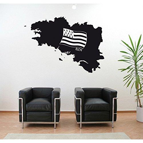 Stickers Bretagne en Bretonse Vlag 70 cm x 50 cm Chocolade