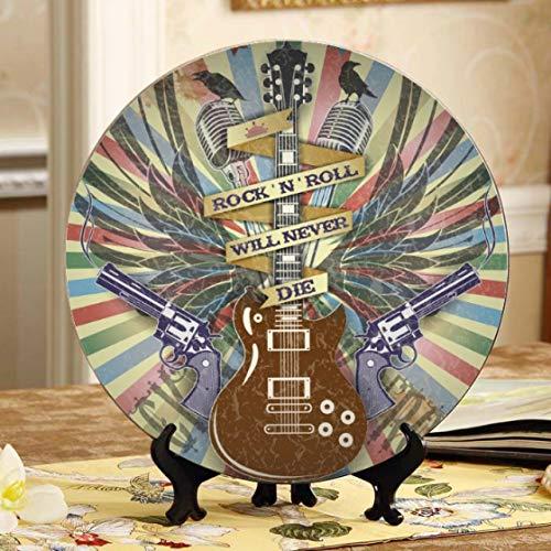 Guitarra eléctrica rodeada de placas decorativas de rayos Placas de cerámica baratas...