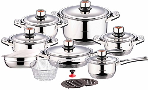 Swiss Inox Si-7000 18-Piece Stainless Steel Cookware Set, Includes Induction Compatible Fry Pots,...