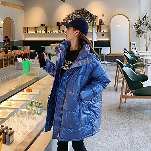 Chaqueta de Plumas Moda Brillante Invierno Mujer Abrigo De Gran Tamaño Nuevo Cuello Alto Largo Chaqueta De Invierno para Mujer Parka Prendas De Vestir S Azul