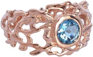 Anillo solitario de plata de ley 925 chapado en oro rosa con topacio azul, promesa de traje único, joyería de cristal de m...