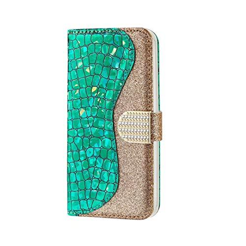 FHXD Kompatibel mit Samsung Galaxy A50 Hülle Glitzer PU Leder Flip Wallet Hülle mit [Kartensteckplätzen] [Magnetverschluss] Anti-Schock Kratzfest Schutzhülle-Grün