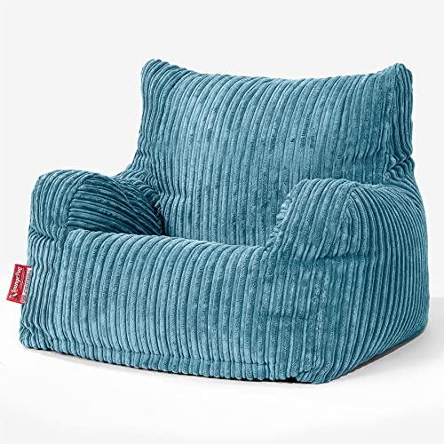 Lounge Pug®, Sitzsack Ohrensessel mit Hocker, Cord Türkis