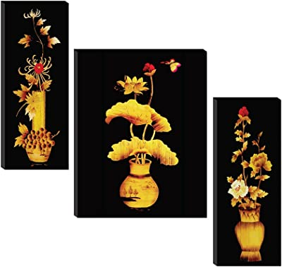 SAF Set of 3 Preety Yellow flower pot wall painting home décor items paintings for living room with frame wall décor painting 12 inch X 18 inch SAF-JM31066