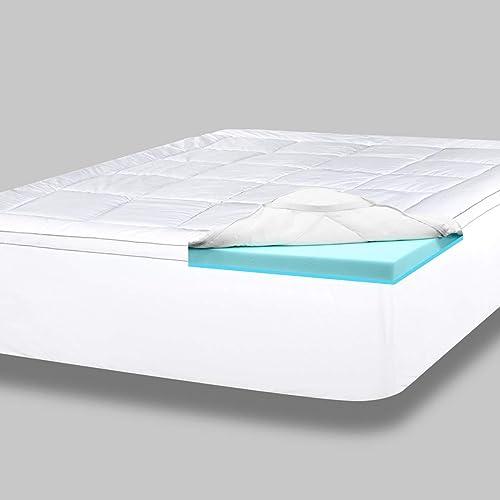 ViscoSoft 4 Inch Pillow Top Gel Memory Foam Mattress Topper King | Serene Dual Layer Mattress Pad