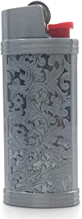 Lucklybestseller Silver and Gray Color Vintage Metal Lighter Case Cover Holder for Mini BIC Lighter J5